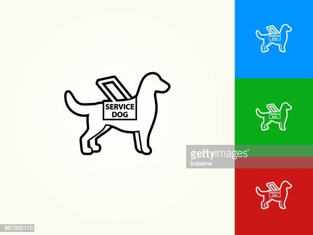 service dog black stroke linear icon - blindness stock illustrations, clip art, cartoons, & icons