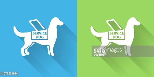 長い影のサービス犬アイコン - 訓練犬点のイラスト素材/クリップアート素材/マンガ素材/アイコン素材