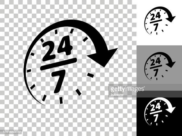 24/7 service icon on checkerboard transparent background - 24 7 stock illustrations