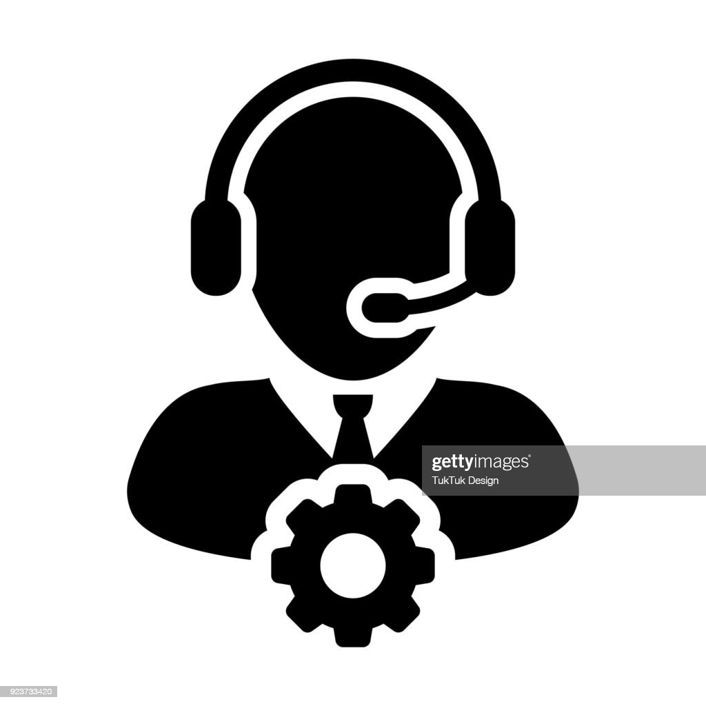 Service Icon Vector Male Operator Person Profile Avatar with Headset and Gear Cog Symbol for Industrial Business Support in Glyph Pictogram