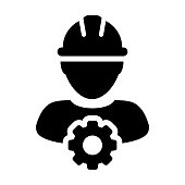 Service Icon Vector male Person Worker Avatar Profile with Gear Cog Wheel for Engineering Support and with Hard Hat in Glyph Pictogram Symbol