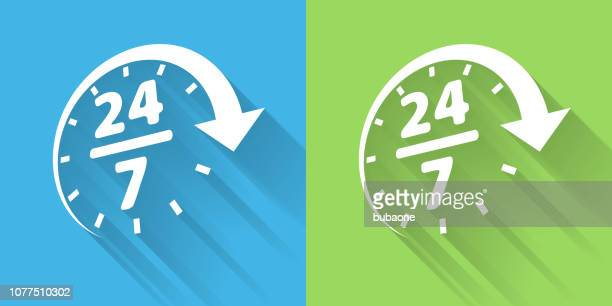 24/7 service icon with long shadow - 24 7 stock illustrations