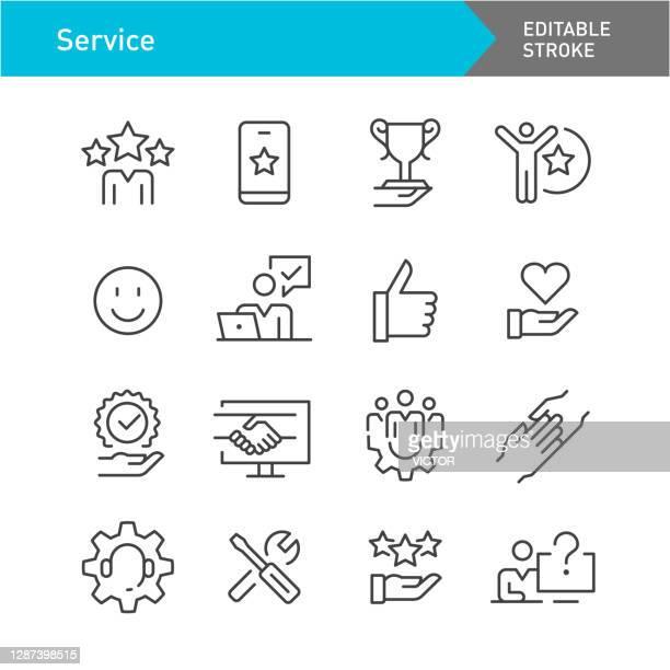 ilustrações, clipart, desenhos animados e ícones de ícones de serviço - série de linhas - traçado editável - praticar