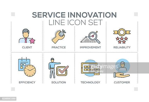 Service Innovation keywords with line icons