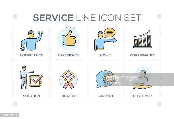 Service keywords with line icons