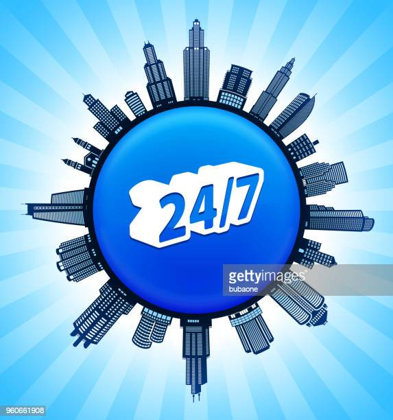 24/7 service on modern cityscape skyline background - commercial real estate sign stock illustrations