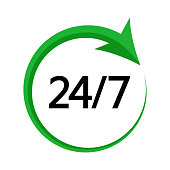 24/7. Service open 24h hours day and 7 days a week. Green and black colors. Vector