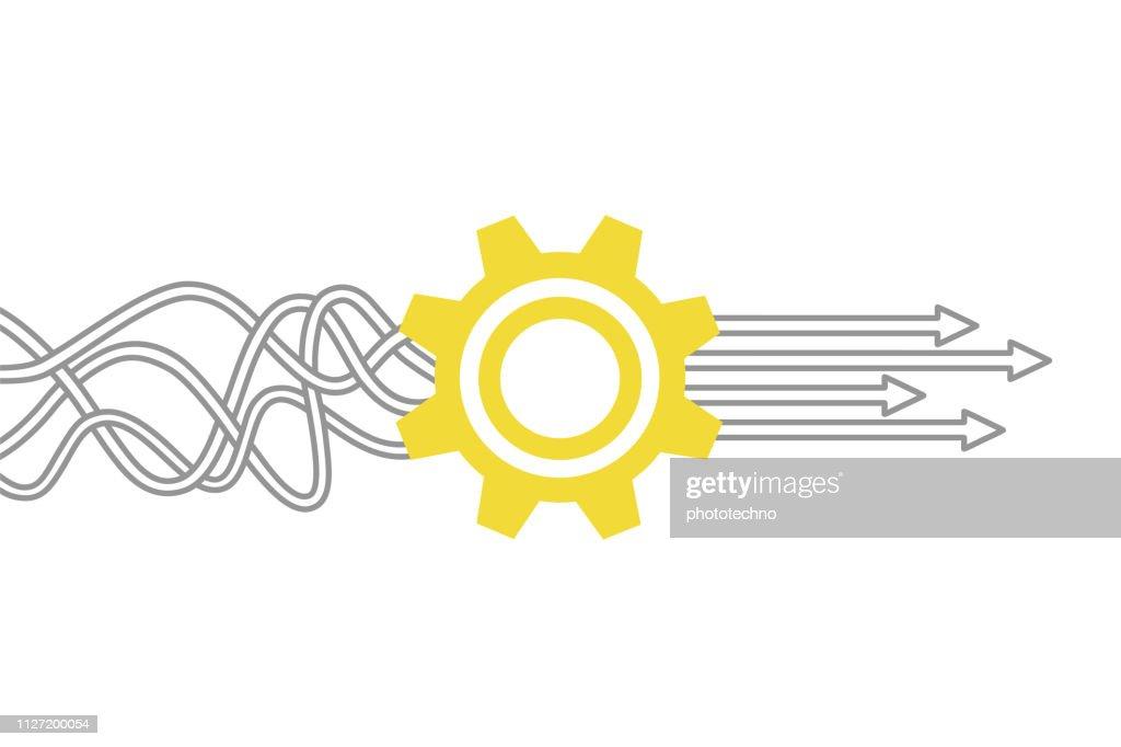 歯車とサービス ソリューションの概念 : ストックイラストレーション