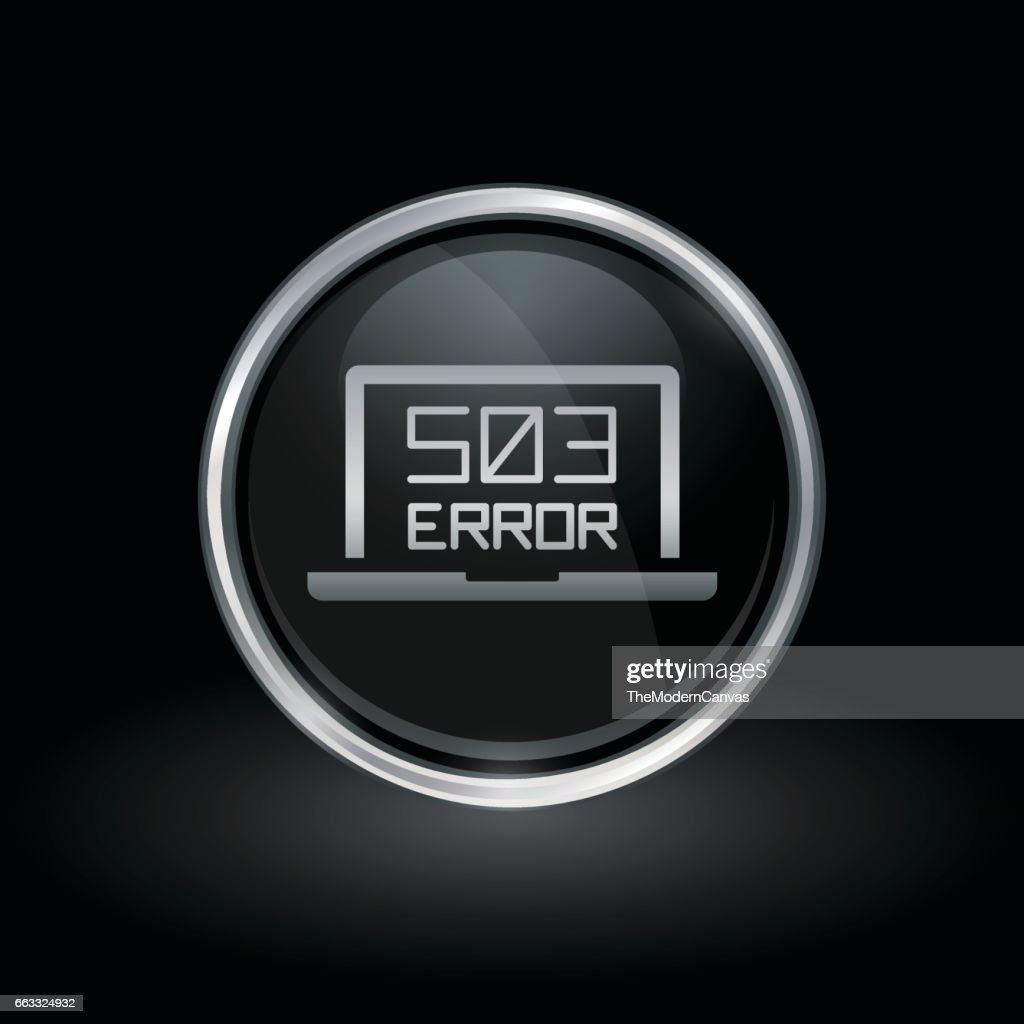 503 service unavailable icon inside round silver and black emblem