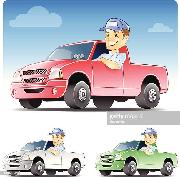 illustrations, cliparts, dessins animés et icônes de serviceman', réparateur conduite camion de travail - chauffeur routier