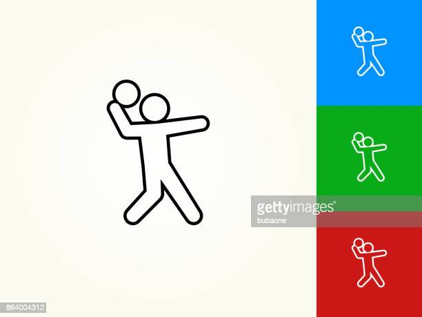 serving black stroke linear icon - throwing stock illustrations