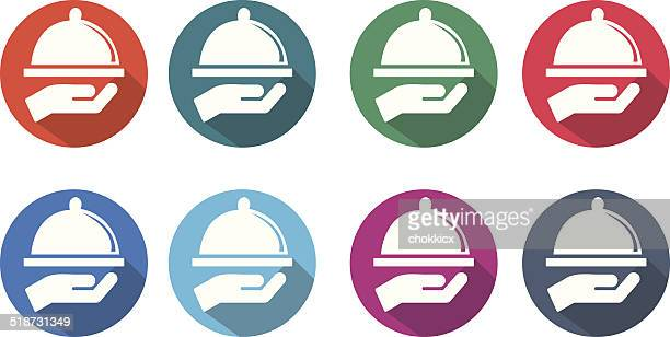 serving food round flat icons - serving size stock illustrations, clip art, cartoons, & icons