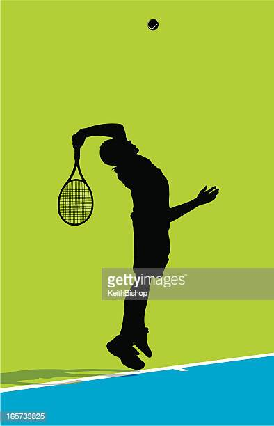 serving tennis ball - male - traditional sport stock illustrations, clip art, cartoons, & icons