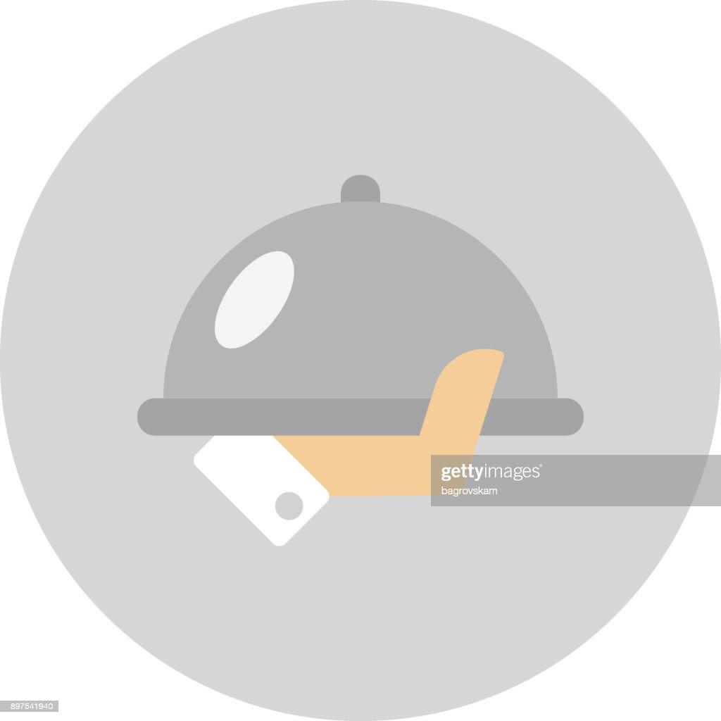 serving tray in hand vector illustration