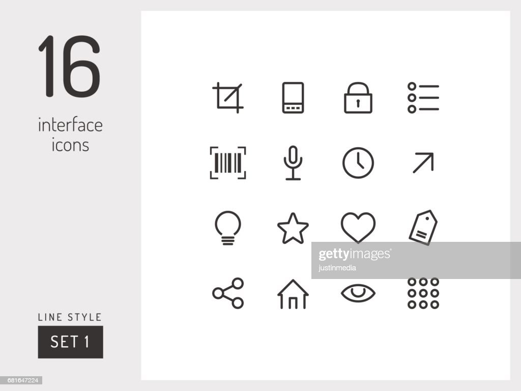 Set 1 of interface icons on the white background. Universal linear icons to use in web and mobile app.