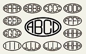 Set 1 of templates from of four capital letters inscribed in a oval. From wide lines of the same thickness. To create logos, emblems, monograms. Lineart style