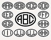 Set 1 of templates from three capital letters inscribed in a oval. From wide lines of the same thickness. To create logos, emblems, monograms. Lineart style.