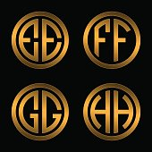 Set 1 of templates from two capital Golden letters on a black background E, F, G, H inscribed in a oval. To create logos, emblems, monograms.