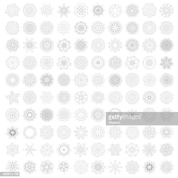 set 100 mandala floral pattern ornament icon - islam stock illustrations