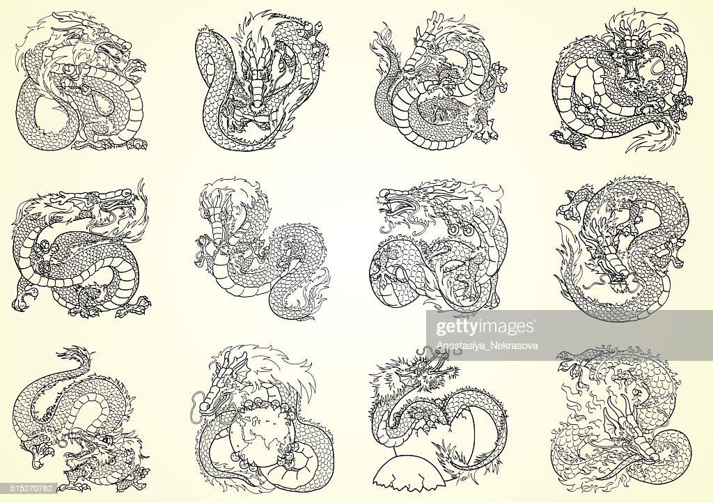 Set 12 Asian dragon black contour on white background