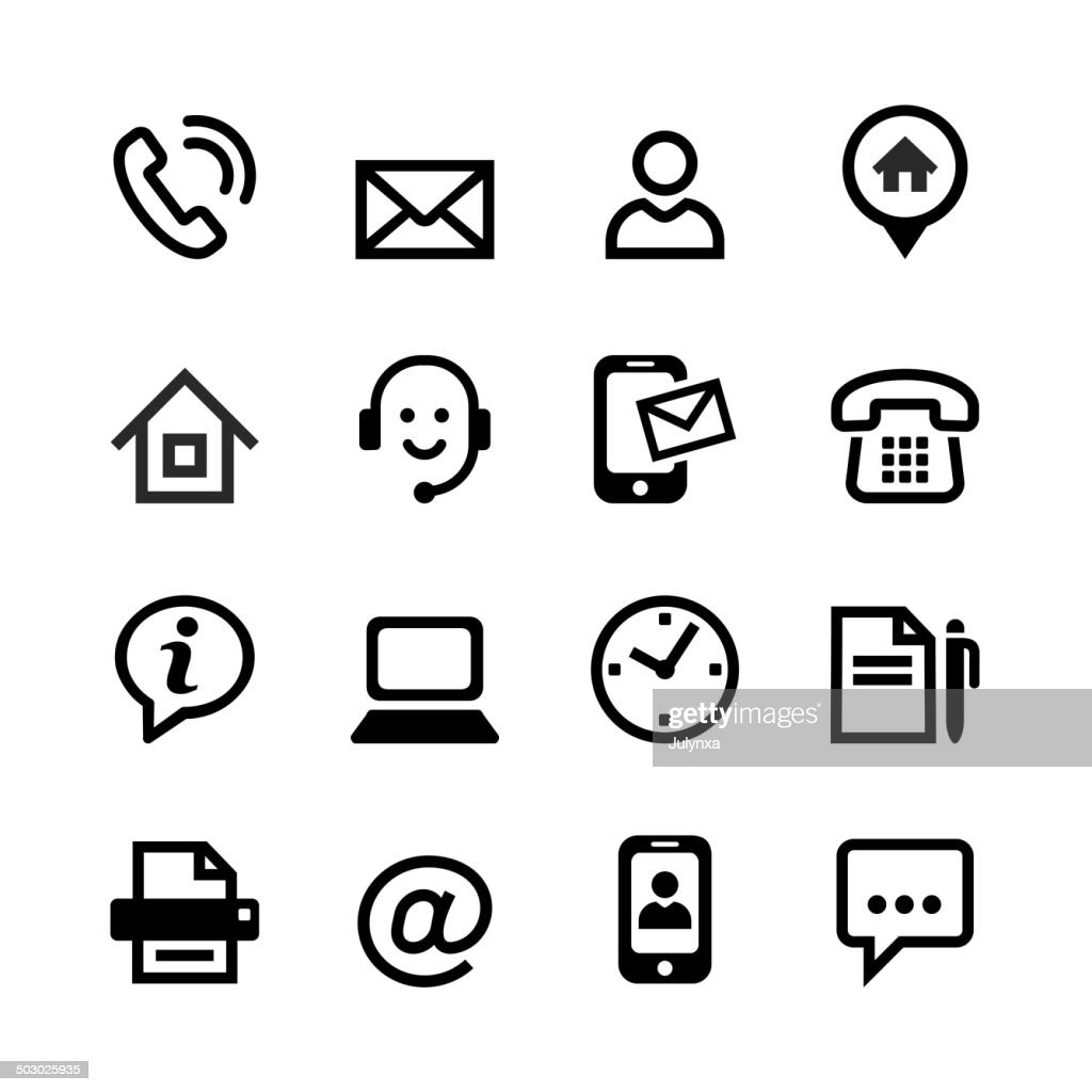 Set 16 basic icons - contact us