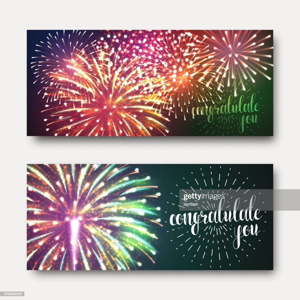 Set 2 brochures festive design with fireworks. Bright background printing