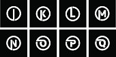 Set 2 of templates, capital letters inscribed in a circle of wide white bands with an overlay of shadows. To create emblems, monograms, logos.