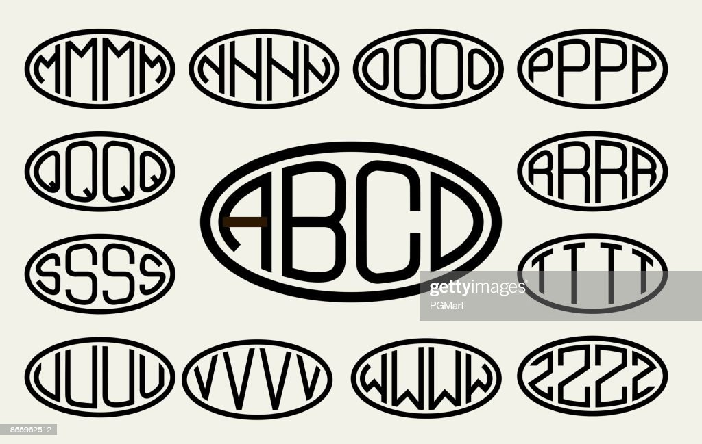 Set 2 of templates from of four capital letters inscribed in a oval. From wide lines of the same thickness. To create logos, emblems, monograms. Lineart style