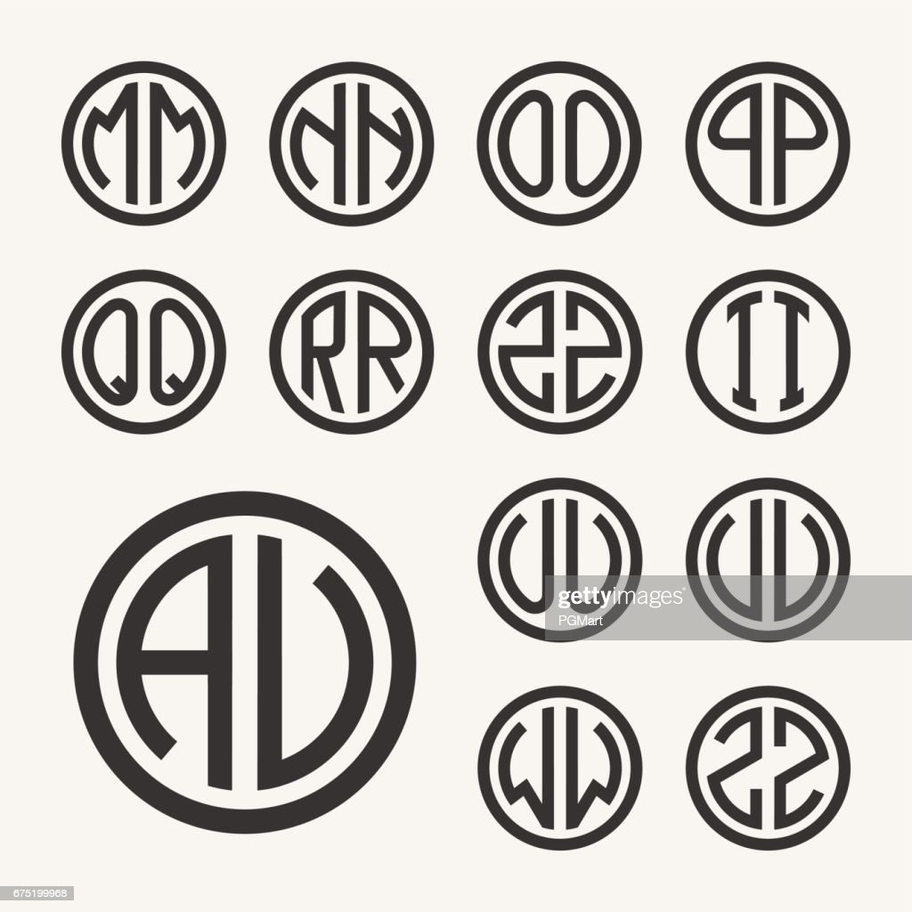 Set 2 of templates from two capital letters inscribed in a circle. From wide lines of the same thickness. To create logos, emblems, monograms. Lineart style.