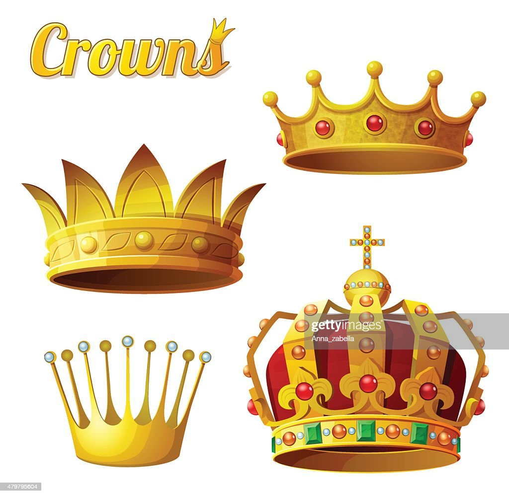 Set 3 of royal gold crowns isolated on white. Vector