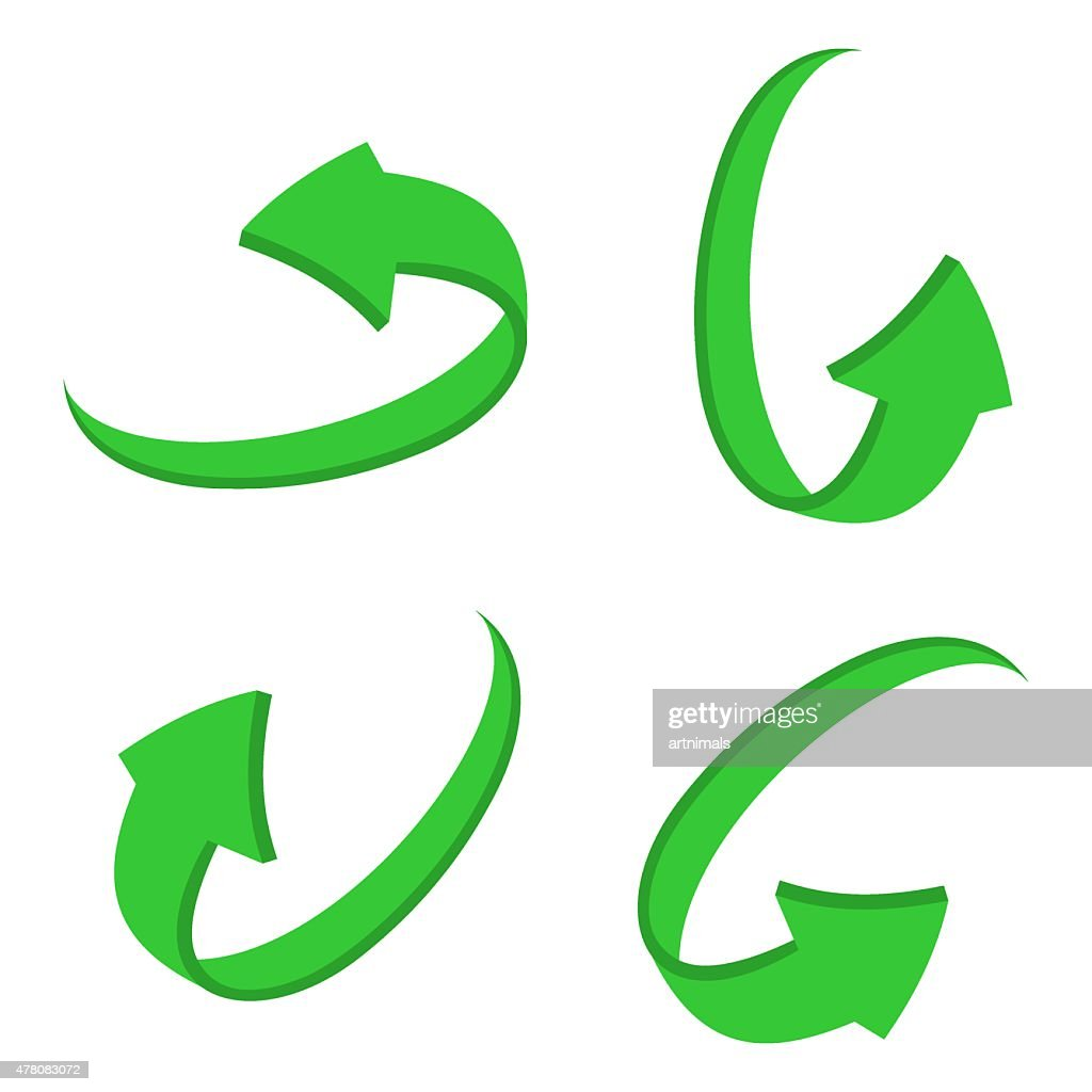set 3D green arrow