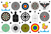set a target for shooting range, bullet holes, vector