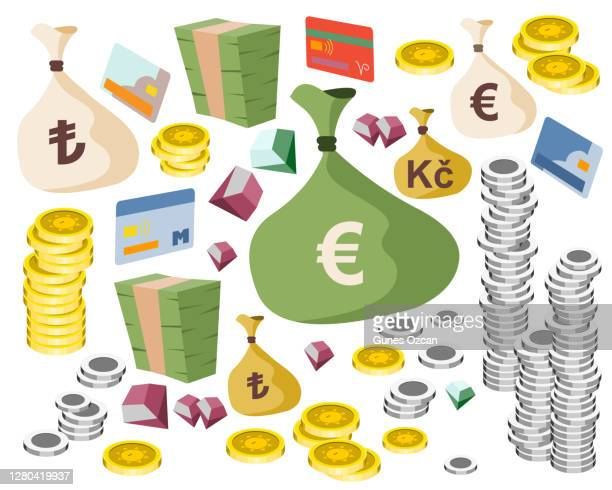 set a various kind of money - money bag - currency - shopping - jewelry - dimaond - gem - credit card - valuable - gold coins - silver coins - packing in bundles of bank notes - isolated - web site page - mobile app design - christmas cash stock illustrations