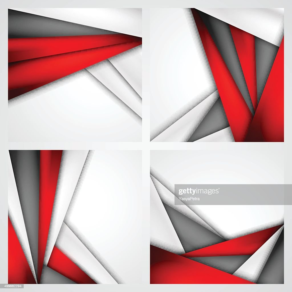 Set Abstract background of red, white and black origami paper.