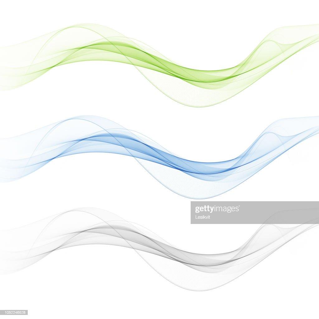 Set abstract color wave smoke transparent blue pink orange green wavy design