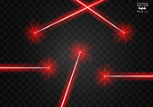 Set abstract red laser beams. Isolated on transparent black background.