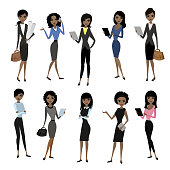 Set african american business lady