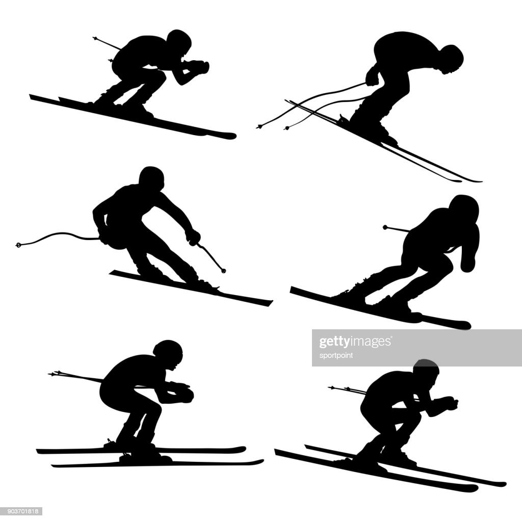set alpine skiing athlete
