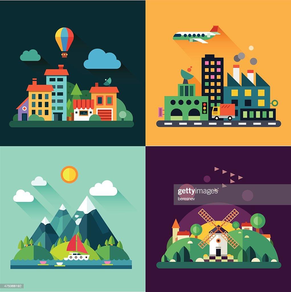set and illustrations urban and village landscapes