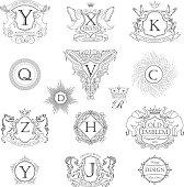Set animal monogram coat of arms
