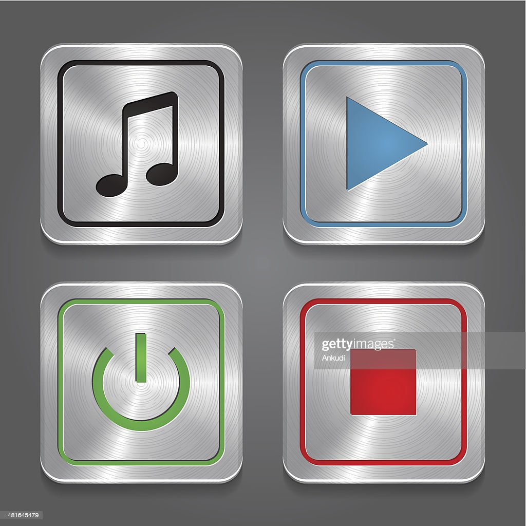 set app icons, metallic media player buttons collection.
