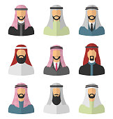Set Arabic Men Flat Icons