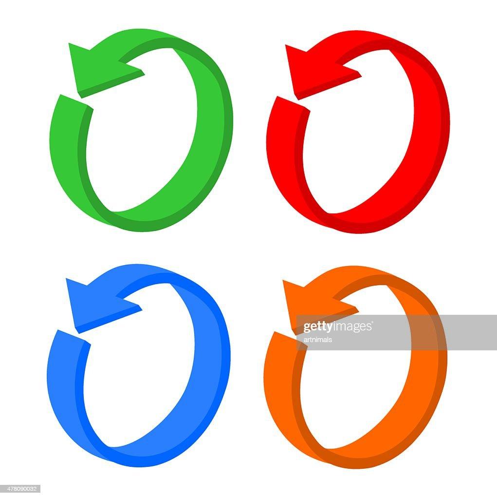 3D set arrow circular or recycling