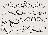 set art calligraphy flourish of vintage decorative whorls for design. Vector illustration EPS10