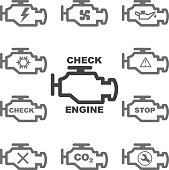 Set auto icons CHECK ENGINE. Vector.