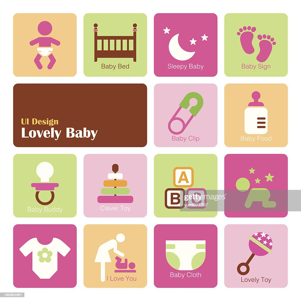 Set Baby Girl icons, flat UI design trend