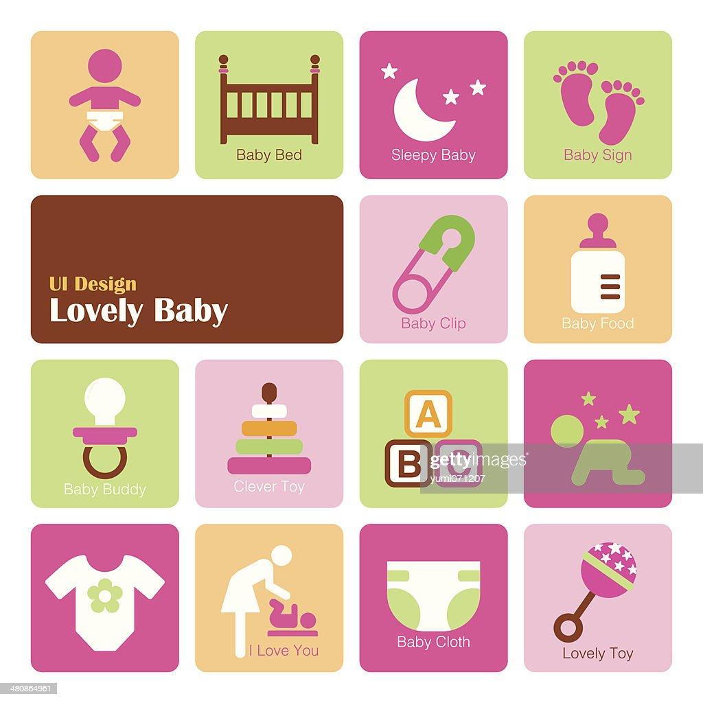 Set Baby Girl icons, flat UI design trend