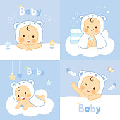 set baby with  bear towels  washcloths