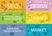 Set Banners Seo Design Finance Flat