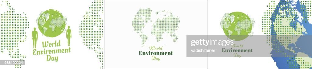 Set banners world environment day with world map flat vector set banners world environment day with world map flat vector illustration eps 10 vector gumiabroncs Image collections